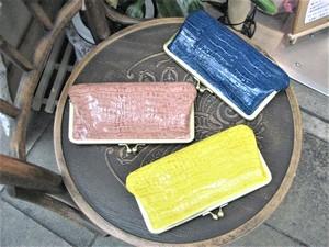 【日本製】【革エナメル】(3color)クロコ型押・ガマ口財布 tz-303