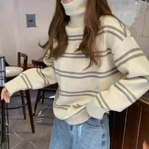 【トップス】冬スタイリッシュハイネック韓国風ボーダー柄可愛いセーター・カットソー25248220