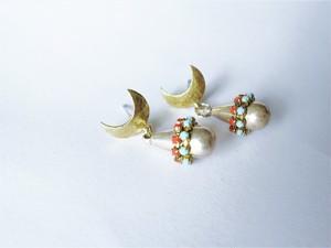 ドロップピアス ターコイズ×コーラル vintage drop earrings <PE12-0420>