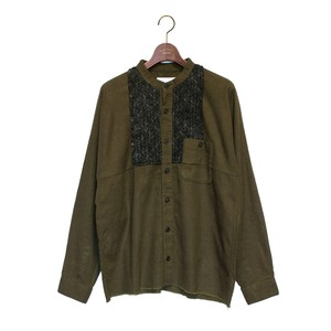 Enharmonic TAVERN Wool Bright Boucle Check Frill Shirt -khaki <LSD-AH3S1>