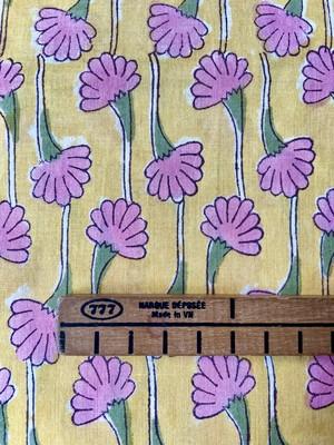【NEW】Block print  黄色にピンクの花模様