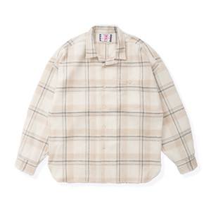 【SON OF THE CHEESE】Long flannel shirts(OFF WHITE)