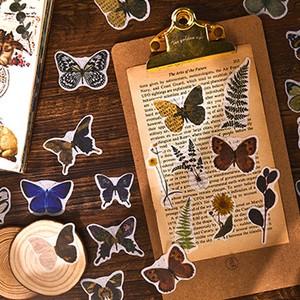 アンティーク調 ステッカー 全6種 蝶 花 鳥 動物 ボタニカル シール 装飾 デコレーション 素材 ほぼ日 手帳 コラージュ G03