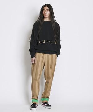 裾配色ストライプパンツ(ベージュ)