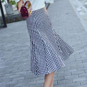 フレアスカート ロング 黒と白のチェック柄 伸縮性ウエスト ハイウエスト
