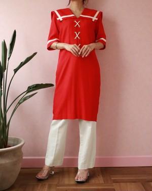 Red sailor collar dress