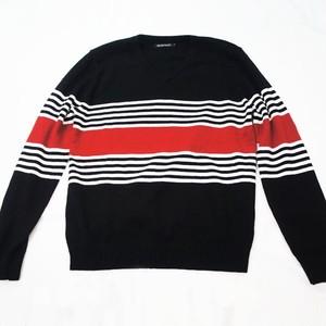 マルチボーダー・Vネックセーター  BLACK