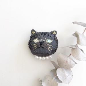黒猫ブローチ/オッドアイ