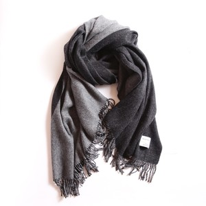 THE INOUE BROTHERS/Woven Brushed Doublefaced Stole/Black×Grey