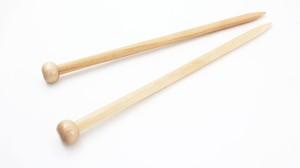 【竹製硬質】玉付極太 2本針 (長さ35cm 太さ10mm)