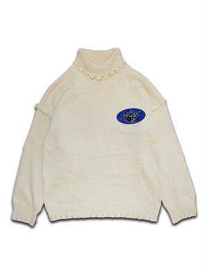 SPACE CAT PATCH HIGH NECK SWEATER ivory