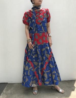Diane freis Gray × blue × red cotton dress ( ダイアン フレイス コットン ワンピース )