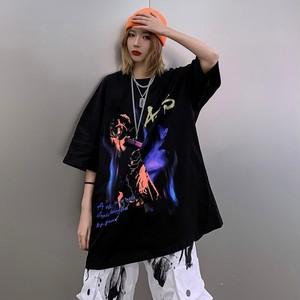 【トップス】男女兼用ファッション暗黒系プリント半袖Tシャツ44868147