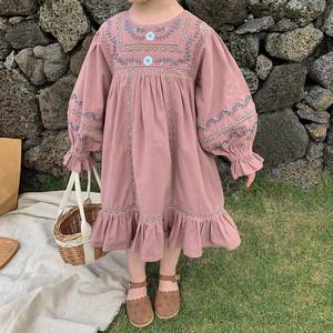 大人気!【即納】flower刺繍 ワンピース 花柄 ドレス 春 SS 子供服