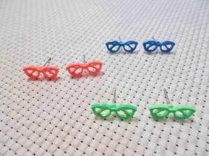眼鏡ピアス(青/橙/黄緑)