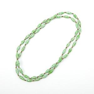 ペーパービーズネックレス/グリーン・ホワイト/ロング