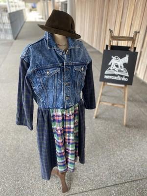 デニムジャケットとネルシャツのリメイクワンピース_Green系ミモレ丈