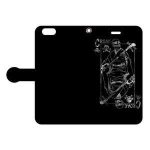 [手帳型iPhoneケース] croak / Black