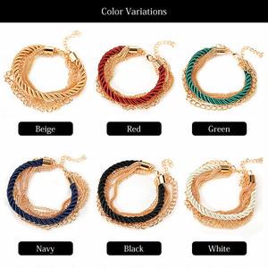 【ブレス】全6色!ゴールドチェーン多重巻きロープデザインブレスレットバングル