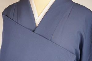 【夏】色無地 絽 正絹 一つ紋 青 紺鼠色 247