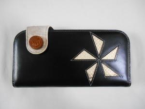 イタリアンオイルレザー 黒牛革 長財布 五つ鱗 TALON42