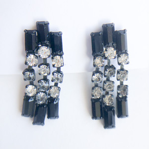 """Les Bernard"" black rhinestone dangle earring[e-1284] ヴィンテージイヤリング"
