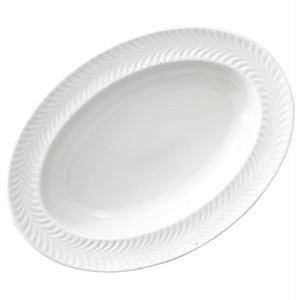 波佐見焼 翔芳窯 ローズマリー リムオーバル 皿 約27×19cm マットホワイト