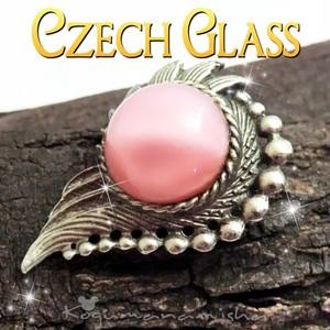 幻想的★大玉 ピンク ムーングロウ カボッションガラス ヴィンテージ フラワーブローチ,1940s