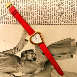 Yves Saint Laurent  heart × red leather belt watch