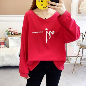 【tops】vネックアルファベット合わせやすい長袖Tシャツ 23116488