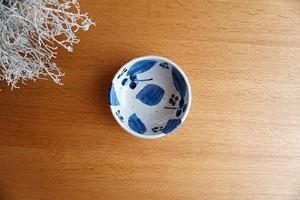 砥部焼/たたら作り小鉢(深)/ブルー木の葉/森陶房