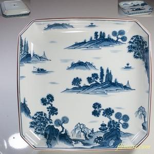 前畑陶器庫山窯染付山水角盛皿W5962