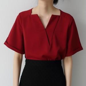 【トップス】気質アップファッションプルオーバー無地切り替え半袖VネックTシャツ42940709