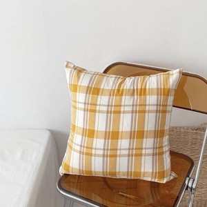 yellow check cushion cover 40*40 / イエローチェック クッションカバー ケース 韓国雑貨