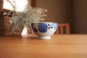 砥部焼/お茶碗/ブルー木の葉/森陶房