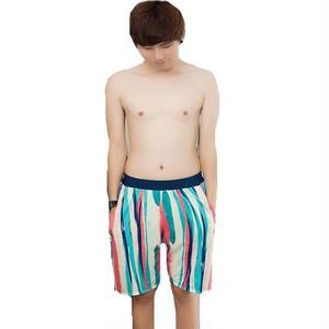 メンズ水着 ストライプ柄 ブルー 夏 リゾート 温泉 男性 紳士 メンズパンツ サーフパンツ ハーフパンツ L XL XXLw573