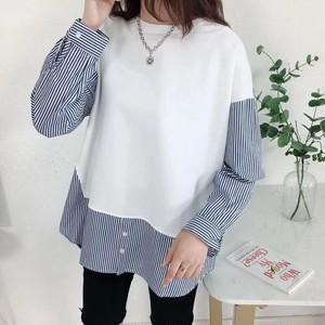 【tops】ストライプ柄2色切り替え丸ネックお流行りTシャツ 22885674