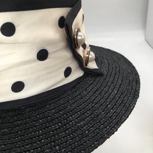 ドット柄バイカラーカンカン帽