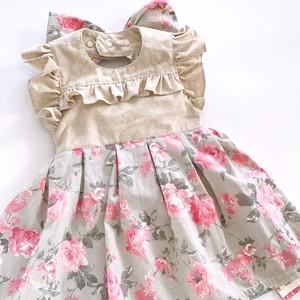 《巾着ポーチ付き》 ロマンティック バラ柄 女の子エプロン(リネンコットン)70-90cm