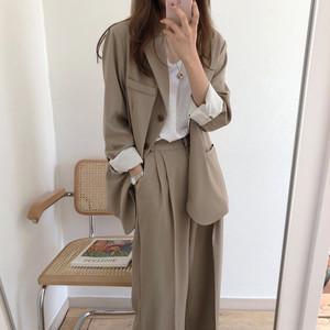 【セットアップ】ファッション長袖無地カーディガン+ハイウエストパンツスーツセットアップ