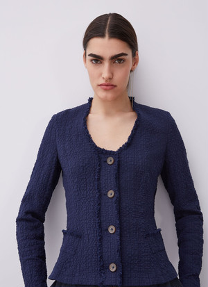 UNLINED TEXTURED COTTON JACKET