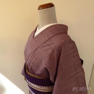 正絹紬 紫蘇色の無地 袷