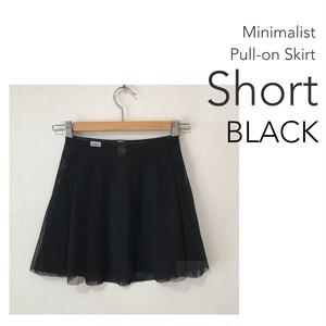 ◆[SHORT] Minimalist Ballet Skirt : Black (ショート丈・プルオンバレエスカート『ミニマリスト』(黒))