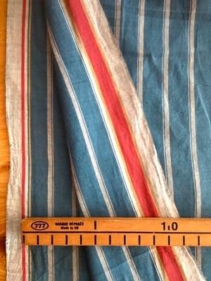 Cotton  ベンガル /  ダブルストライプ  ブルー+ピンク耳