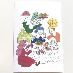 うめだゆみ ポストカード「おばあさんのお茶会・テーブル」