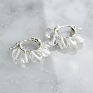 送料無料SV925SF*Crystal Quartz fringe wrapped pierced earring / earring