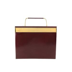 Christian Dior クリスチャン ディオール メタルハンドル ボックス レザー ハンドバッグ ボルドー vintage ヴィンテージ オールド 8r2uvh