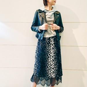 裾レースレオパードリブスカート