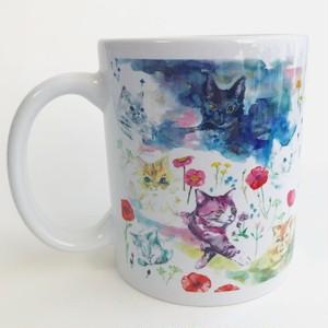 マグカップ  猫と花