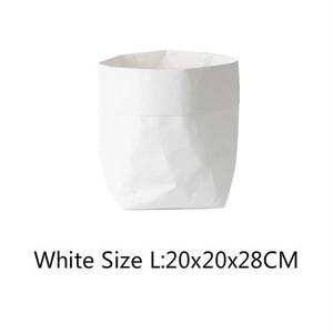 送料無料クラフトペーパーファブリック・バスケット 【ホワイト L size】収納